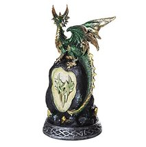 Green Mystic Forest Dragon with LED Light On Crystal Rock Mountain 7.5H - $19.79