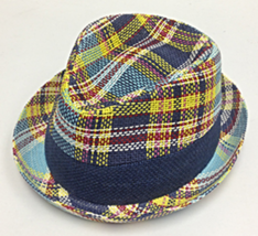 Who Ced Gratiot Fine Paper Braid Straw High Roller Fedora Multi Color Plaid - $52.00