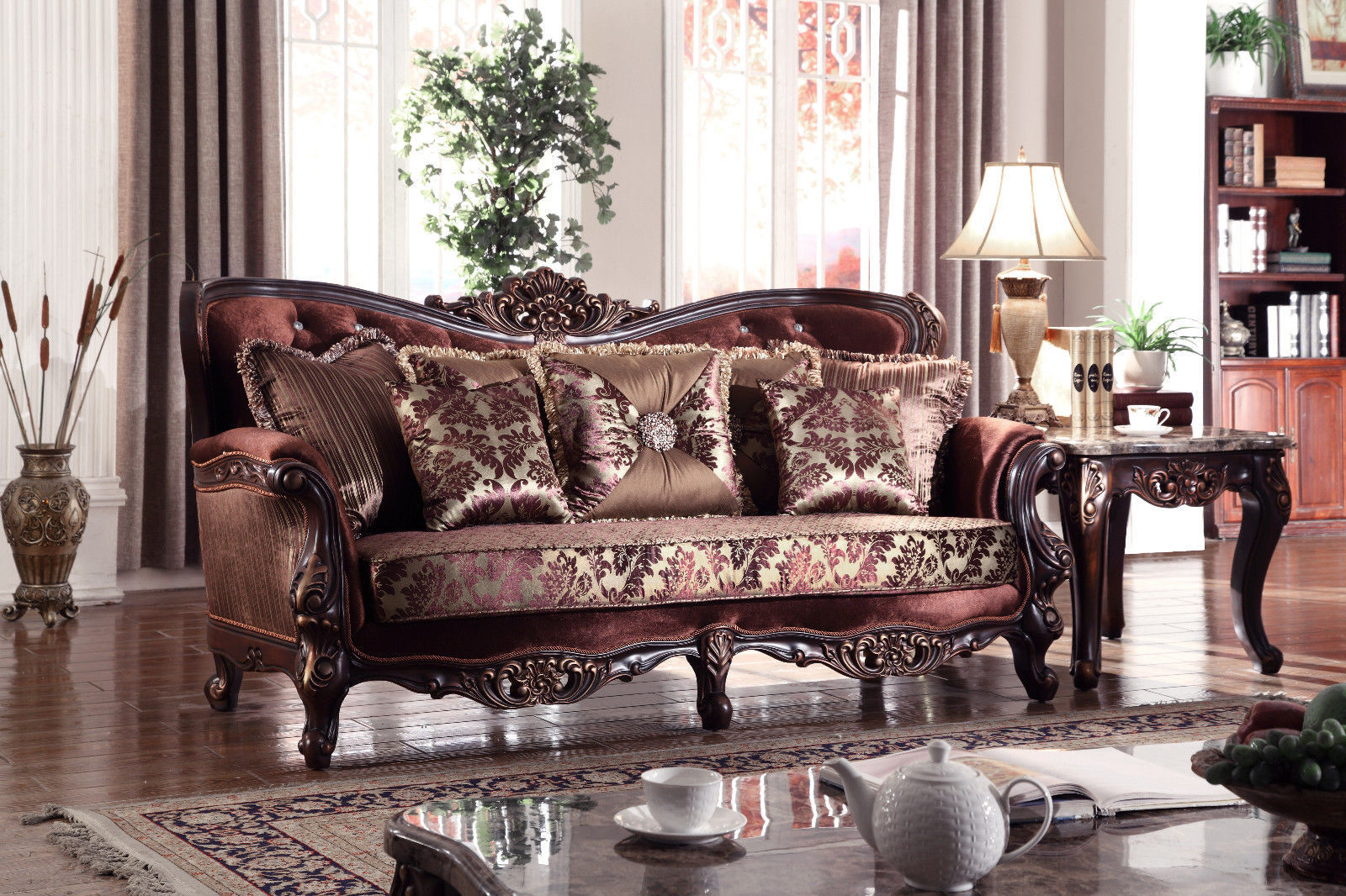 Meridian 685 Fabric Living Room Sofa Set 2pc. Provincial Brown Traditional Style