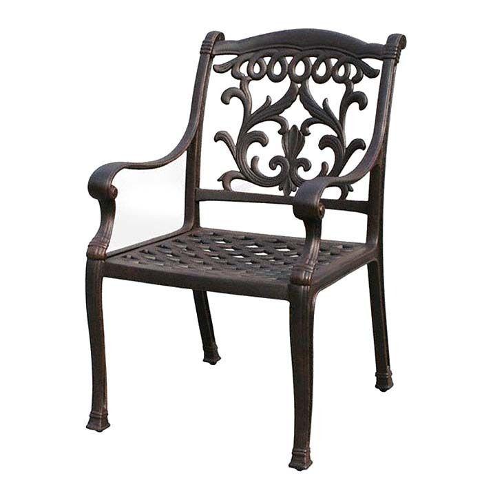 Patio dining chair outdoor cast aluminum Flamingo furniture Bronze rust free