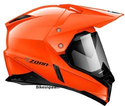 S Zoan Synchrony Dual Sport Orange Motorcycle Helmet w/ Sun Shade 521-454