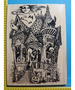 SPOOKY HAUNTED HOUSE FULLMOON mounted rubber stamp - $25.00