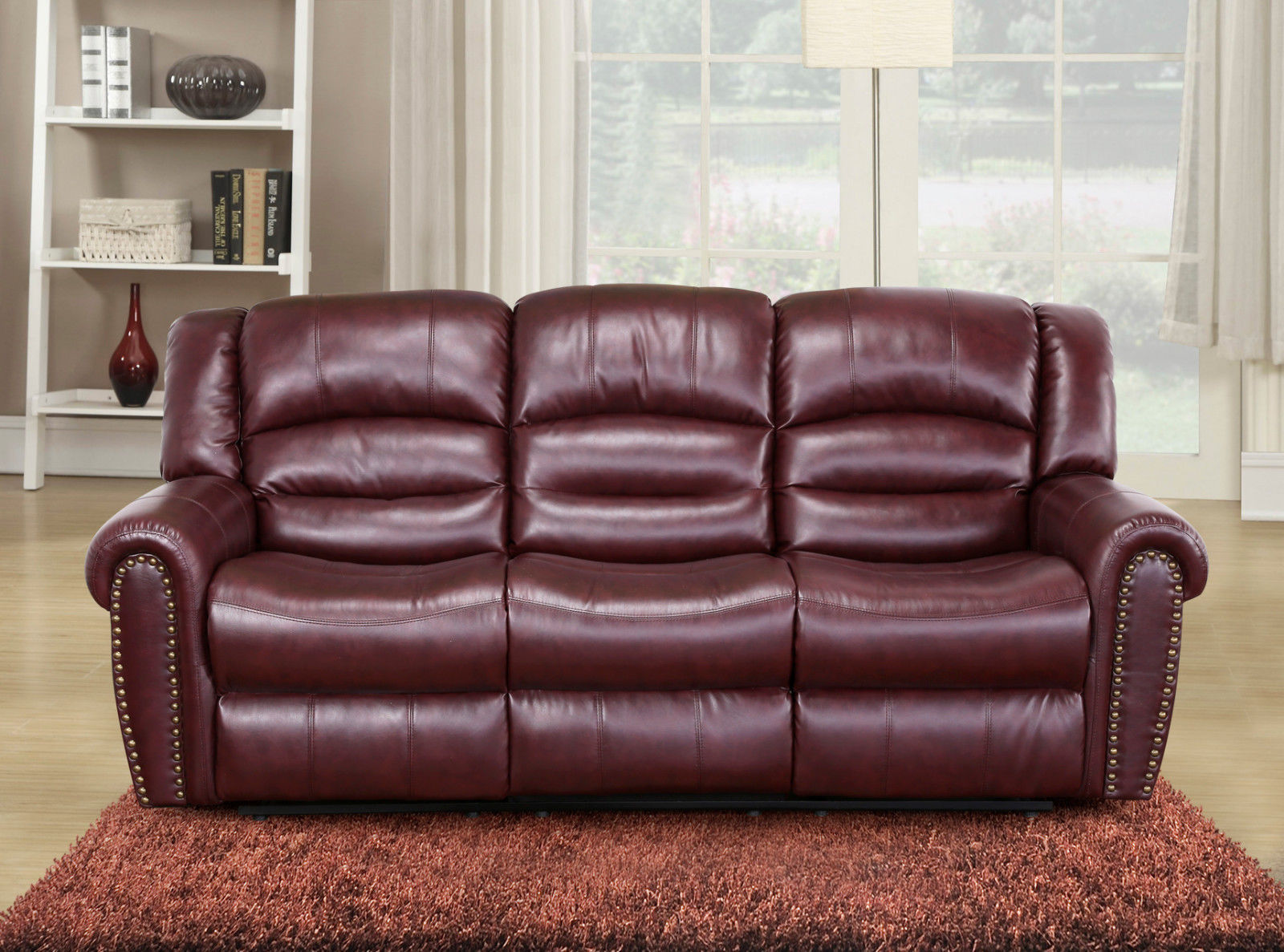 Meridian 686 Bonded Leather Living Room Sofa Set 2pc. Burgundy Traditional Style