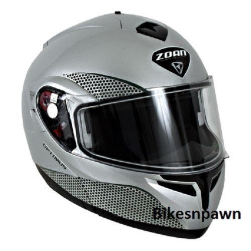 New XS Zoan Optimus Gloss Silver Modular Motorcycle Helmet 038-023