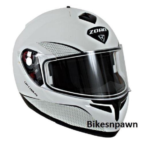 New XL Zoan Optimus Gloss White Modular Motorcycle Helmet 038-007