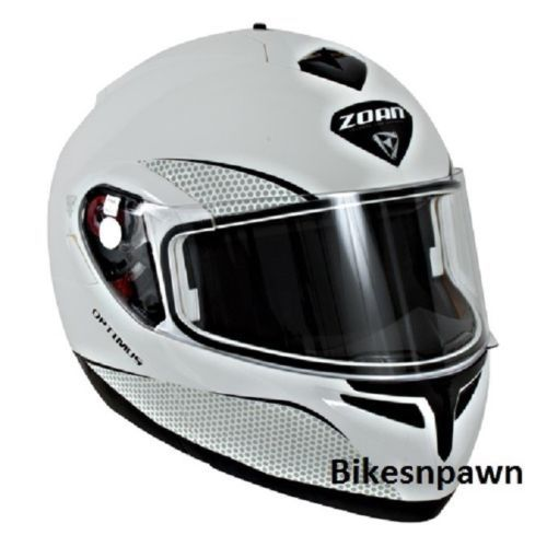 New M Zoan Optimus Gloss White Modular Motorcycle Helmet 038-005