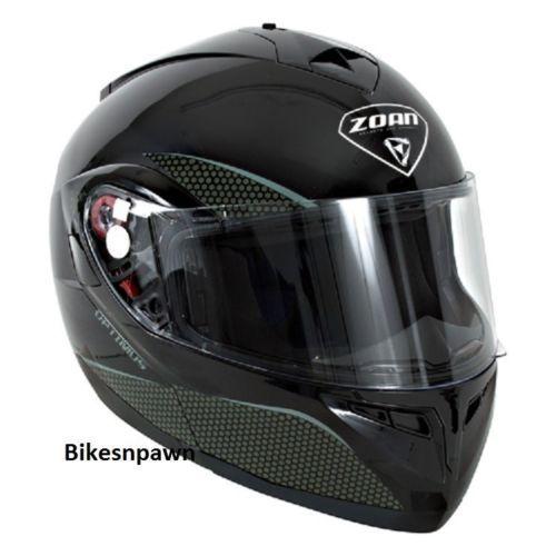 New XS Zoan Optimus Gloss Black Modular Motorcycle Helmet 038-013