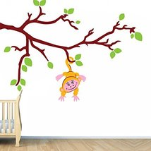 (63'' x 45'') Vinyl Wall Kids Decal Monkey on Tree Branch with Leafs / Art Home  - $85.92