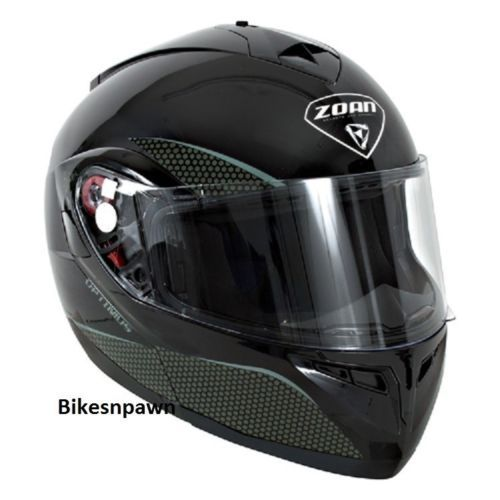 New S Zoan Optimus Gloss Black Modular Motorcycle Helmet 038-014