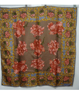 Laura Geraldi Carnation Floral Scarf  31 inch square Brown Blue Red Gold - $31.36