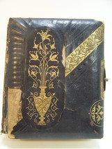 Antique Vintage Photo Picture Album Leather Brass Clasp Gold Trim  20 pages - $24.08