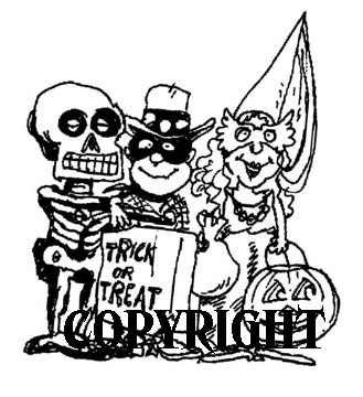 TRICK OR TREATERS SKELTON COWBOY mounted rubber stamp