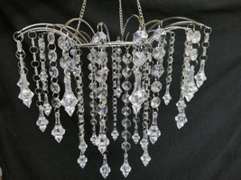 Clear Beaded Chandelier Wedding Centerpiece Acrylic Crystal Diamond Cut ... - $13.73+