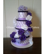 Lavender Purple White and Lilac Purple Themed Baby Shower 4 Tier Diaper ... - $65.00