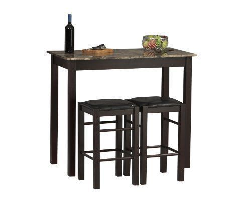 Bistro Table Set Pub 3 Piece Dining Bar Stools Kitchen Chairs Furniture Urban for sale  USA