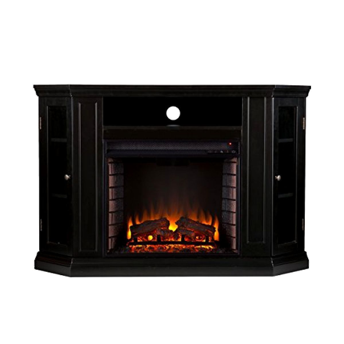 Television Claremont Convertible Media Electric Fireplace Black Storage Fireplaces