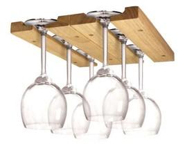 Home Kitchen Organizer Natural Wood Wine Glass Rack Storage Under-Cabine... - $36.98