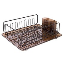 Large Dish Drainer Drying Plate Rack Tray Holder Utensil Kitchen Amber B... - $48.50