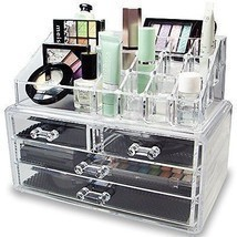 Cosmetic Holder Large Drawers Jewelry Chest MakeUp Acrylic Case Organize... - ₨1,859.17 INR