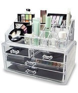 Cosmetic Holder Large Drawers Jewelry Chest MakeUp Acrylic Case Organize... - £20.87 GBP