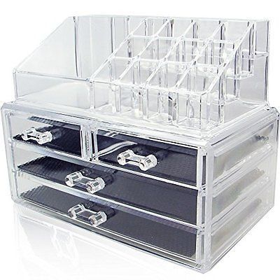 Cosmetic Holder Large Drawers Jewelry Chest MakeUp Acrylic Case Organizer Set
