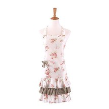 NEW Neoviva Cotton Kitchen Apron for Women with Ruffles, Floral Nitong Rose - $34.68