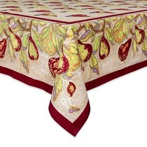 NEW Couleur Nature Poire Tablecloth, 59-inches by 86-inches, Taupe/Burgundy - $177.54