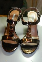 Via Spiga Shoes Bronze Leather Ankle Strap Strappy High Heels Shoes Sand... - $25.93