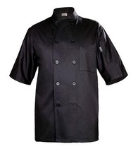 NEW Chef Works BLSS Chambery Short Sleeve Basic Chef Coat, Black, Large - $58.52