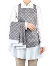 NEW Waverly 4-Piece Gray Pattern Apron and Kitc... - $52.98