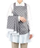NEW Waverly 4-Piece Gray Pattern Apron and Kitchen Towel Hostess Set - £39.75 GBP