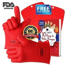 2 Cooking Gloves Heat Resistant with 2 Free Silicone Pot Holders and eCo... - $46.18