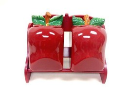 new Tuscany 3-D Apple Ceramic 2-Pcs Candy Jar and Rack 11L 87485 58PVV b... - $46.18