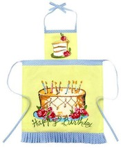 NEW Julia Junkin Adult Full Apron, Lime, Happy Birthday home Free Shipping - $44.52