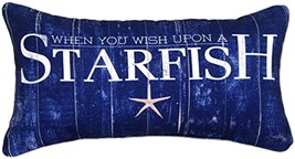 "Wish Upon a Starfish Navy Blue Throw Pillow 17"" X 9"" From Manual Woodwor... - $37.66"