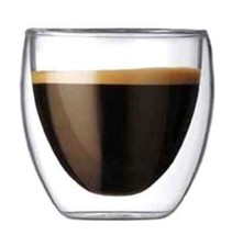Bar Kitchen Glassware 2-Piece Espresso Borosilicate Glass Double-Wall In... - $32.01