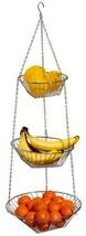 Fruit Basket Holder Rack Hanging 3 Tier Wire Bo... - $29.82