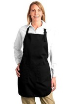Port Authority Full Length Apron with Pockets - One Size, Black - $25.50