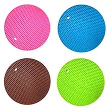 NEW Agooding Set of 4 Silicone Round Pot Holders Heat Resistant Mats(Typ... - $20.90