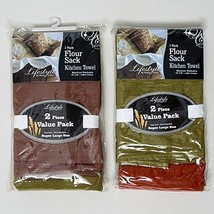 NEW 4 Kitchen Towels Flour Sack Assorted Natural Colors 28 X 38 HOME/Kit... - $18.60