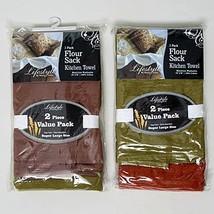NEW 4 Kitchen Towels Flour Sack Assorted Natura... - $18.60