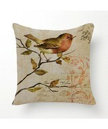 SLS Cotton Linen Decorative Throw Pillow Case Cushion Cover Branch Bird ... - £14.45 GBP