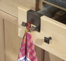 Cabinet Twin Hook Rack Drawers Holder Towel Kitchen Hanging Organizer St... - $18.60