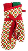 Retro Mod Follies Standard Size Cotton Christmas 3 Piece Oven Mitt and T... - $15.64