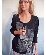 MEDIUM 8 10 T-Shirt Pullover STUDED GRAY SILVER Dark BLACK FLORAL TUNIC ... - $12.99