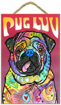 Dean Russo PUG LUV Wood Plaque Sign Dog Lover N... - $18.66