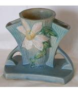 Roseville Blue Clematis Triple Bud Vase, 192-5  - $79.00