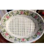 Garden Trellis Soap Dish Flower Floral Shell Blue Check Pattern Pink Gre... - $14.84