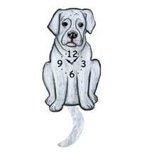 White Boxer Dog Wagging Pendulum Clock - $41.99