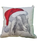 Goat Head Santa Hat Decorative Pillow Medium - $45.00